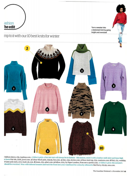 THE GUARDIAN feature AW17's KAWAII  JUMPER as one of their TOP 10 KNITS FOR WINTER