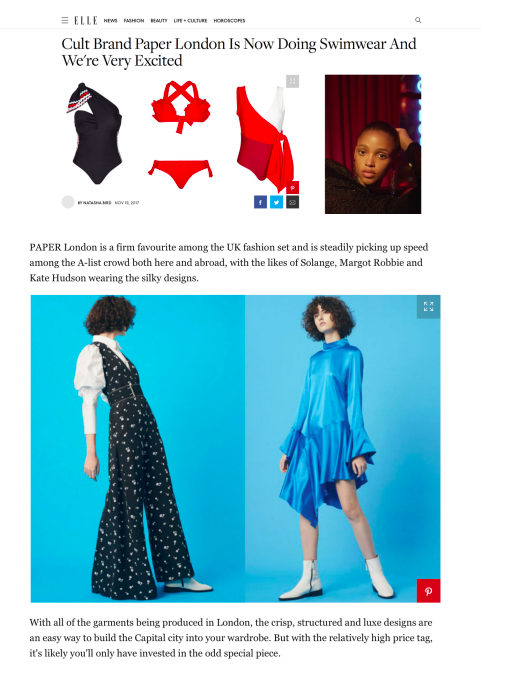 PLAGE by PAPER LONDON is featured by ELLE ONLINE