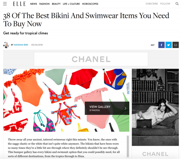 SS18s COCONUT SWIMSUIT and AZUR SWIMSUIT is featured on Elle Online