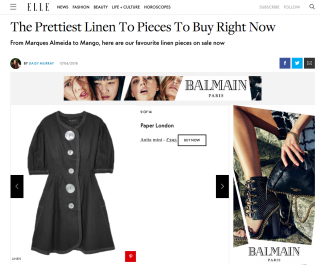 SS18s ANITA DRESS is featured on ELLE.ONLINE