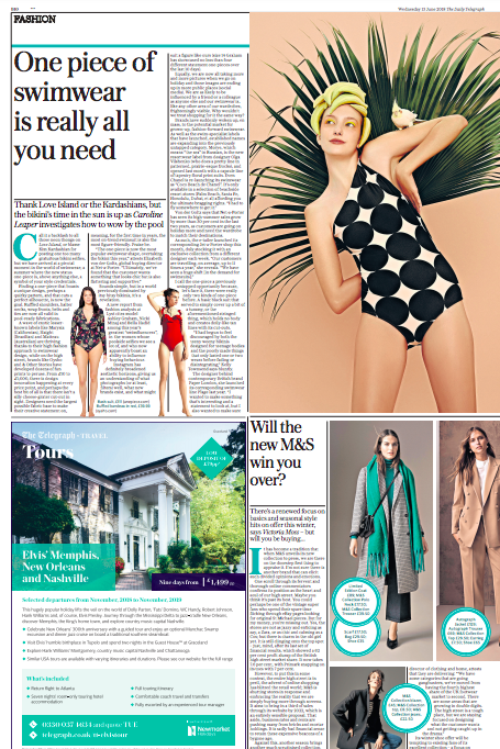 SS18's COCONUT SWIMSUIT IS FEATURED IN THE TELEGRAPH'S SWIM SPECIAL