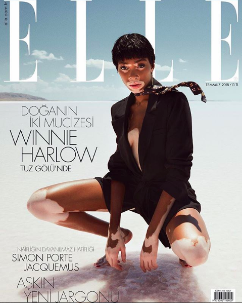WINNIE HARLOW WEARS R18's SHELL SWIMSUIT FOR ELLE TURKEY