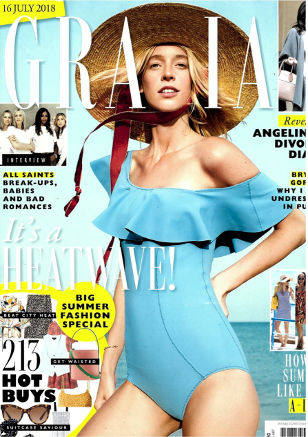 THE SHELL SWIMSUIT IS FEATURED IN GRAZIA MAGAZINE