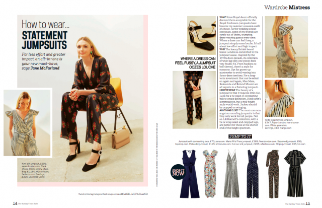 PAPER LONDON'S MAYA JUMPSUIT IS FEATURED IN SUNDAY TIMES STYLE MAGAZINE