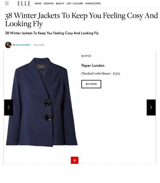 AW18's LENI JACKET IS FEATURED ON ELLE ONLINE