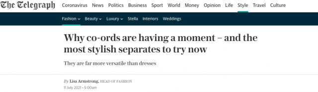 PAPER LONDON Featured in The Telegraph : 'Why co-ords are having a moment – and the most stylish separates to try now' by Lisa Armstrong
