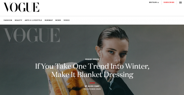 PAPER LONDON featured in British VOGUE: 'If You Take One Trend Into Winter, Make It Blanket Dressing' Article