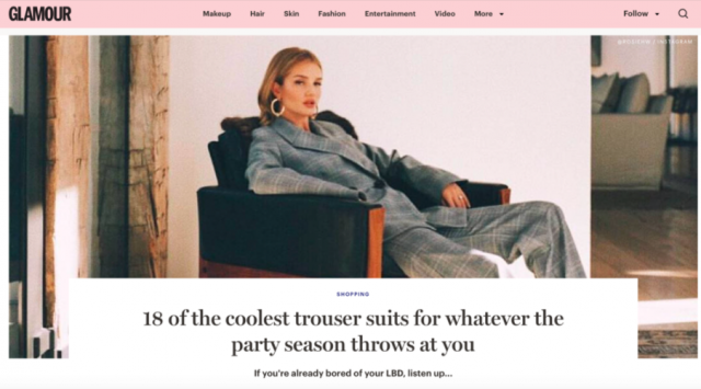 "GLAMOUR FEATURES THE LENI JACKET AND SOLO TROUSERS AS ""ONE OF THE COOLEST TROUSER SUITS"" FOR PARTY SEASON"