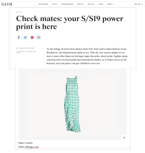 R19's MONTEGO DRESS FEATURES IN TATLER's POWER CHECK EDIT