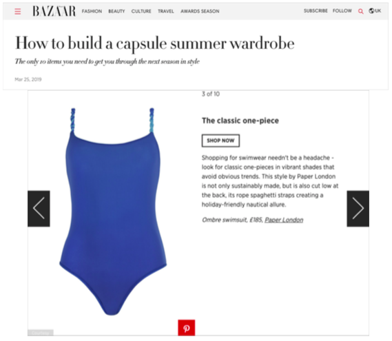 HARPER'S BAZAAR ONLINE FEATURES THE OMBRE STRAPPY SWIMSUIT