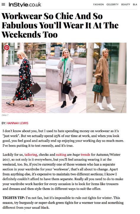 HANNAH LEWIS WEARS THE PAI SHIRT FOR INSTYLE's AW17 WORKWEAR FEATURE