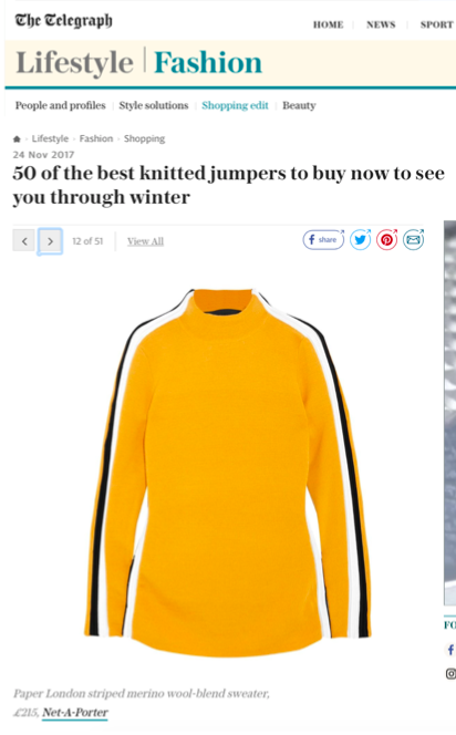 AW17 Kawaii Jumper is featured as one of the 50 best Winter Jumpers in The Telegraph