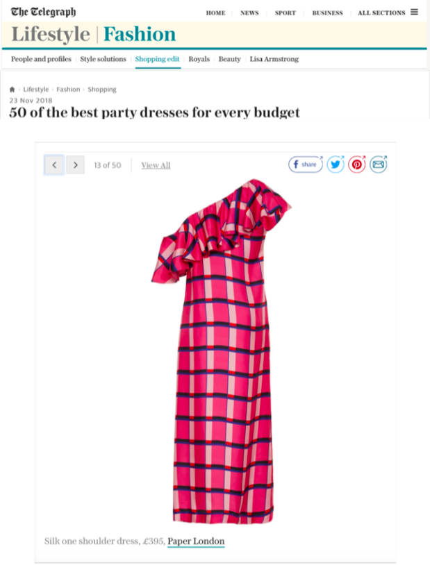 THE TELEGRAPH'S TOP 50 PARTY DRESSES FEATURES AW18's CHI CHI DRESS