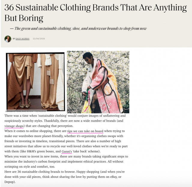 ELLE MAGAZINE FEATURES PAPER LONDON IN THEIR TOP SUSTAINABLE FASHION BRANDS