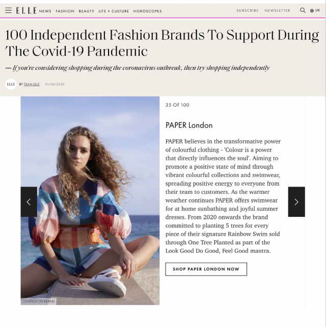 PAPER FEATURED IN ELLE'S '100 INDEPENDENT FASHION BRANDS TO SUPPORT DURING THE COVID-19 PANDEMIC'