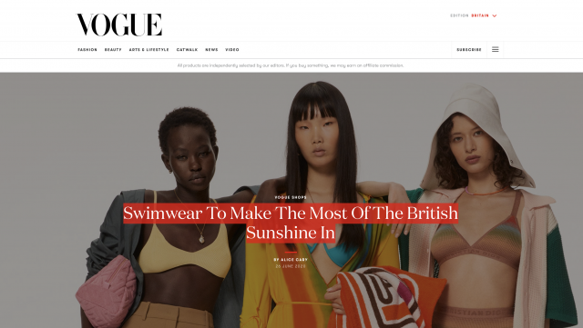 BRITISH VOGUE features PAPER LONDON in their Swimwear To Make The Most Of The British Sunshine In