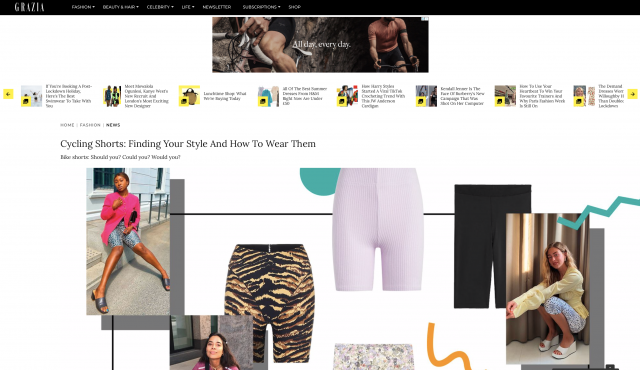 PAPER LONDON featured in GRAZIA Cycling Shorts: Finding Your Style And How To Wear Them