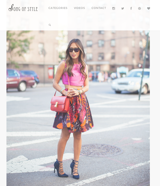 Spotted: Blogger Aimee Song from Song of Style in SS13's Bright Pink Cropped Top