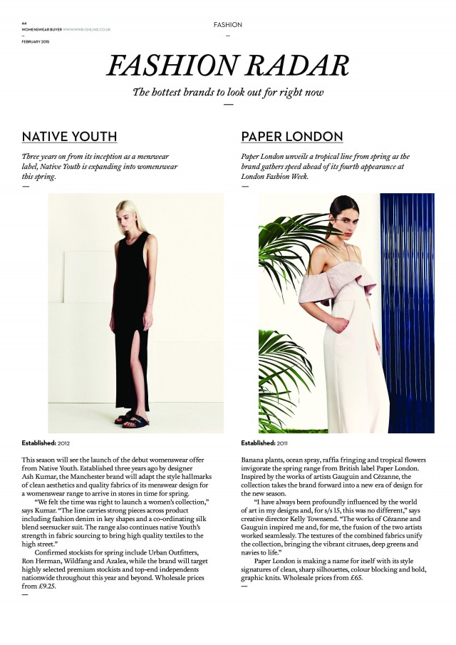 PAPER London is featured in WWB's Fashion Radar