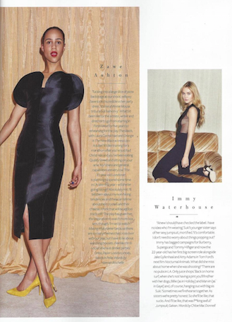 Zawe Ashton is featured in Instyle Magazine wearing PAPER London's Dome Dress
