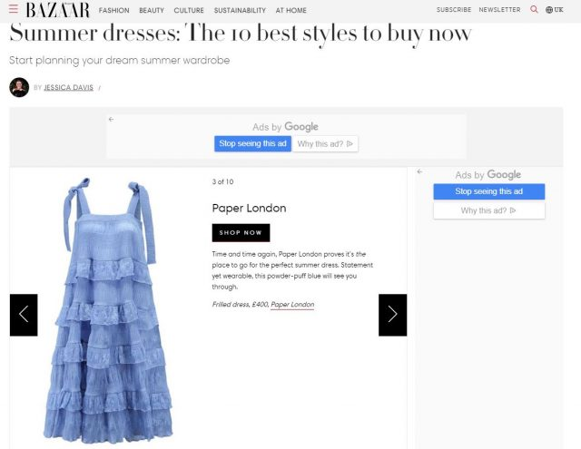 PAPER Featured in 'Summer dresses: The 10 best styles to buy now' By Jessica Davis