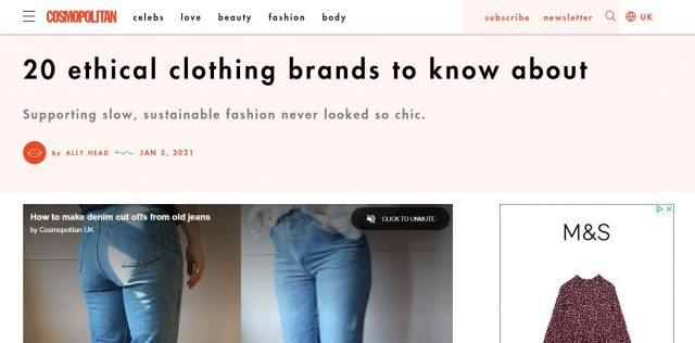 PAPER featured in COSMOPOLITAN : 20 ethical clothing brands to know about Supporting slow, sustainable fashion never looked so chic. By Ally Head
