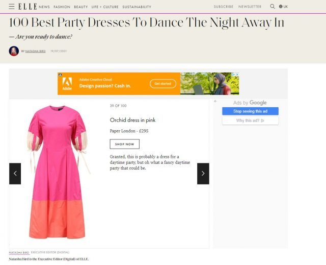 PAPER Featured in ELLE : '100 Best Party Dresses To Dance The Night Away In' by Natasha Bird