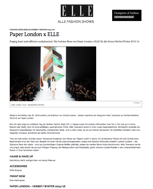 PAPER London's catwalk show at Berlin Fashion Week in conjunction with Mercedes is featured in Elle