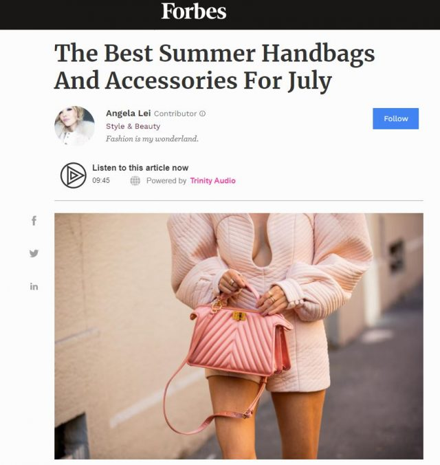 PAPER Featured in Forbes : 'The Best Summer Handbags And Accessories For July' by Angela Lei