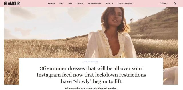 PAPER Featured in GLAMOUR : '36 summer dresses that will be all over your Instagram feed now that lockdown restrictions have *slowly* begun to lift' by Charlie Teather