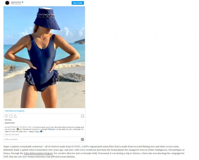 PAPER Featured in GRAZIA : 'Sustainable Swimwear Is Everywhere This Summer' By  HANNAH BANKS-WALKER AND NATALIE HAMMOND