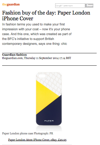 PAPER London's exclusive iPhone cover for the BFC Contemporary is named fashion pick of the day by The Guardian