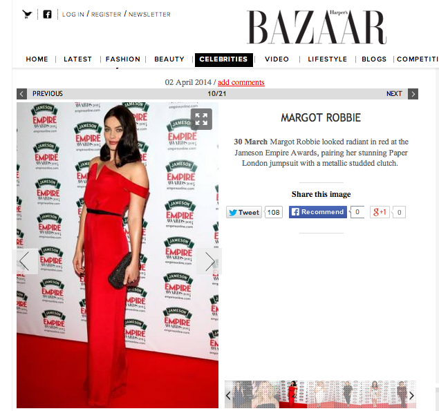 Harpers Bazaar votes Margot Robbie best dressed of the week
