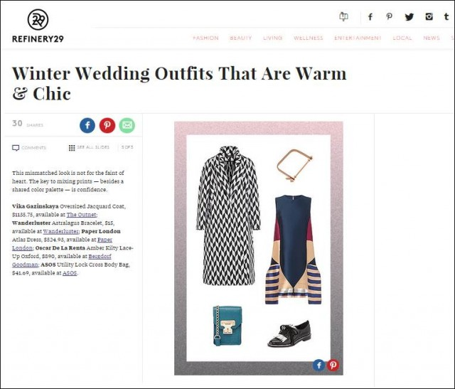 Refinery29 features AW14's Atlas Dress