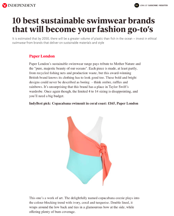 PAPER LONDON IS ONE OF THE INDEPENDENTS TOP 10 SUSTAINABLE SWIMWEAR BRANDS