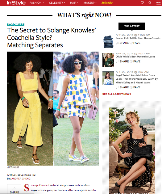 Instyle features Solange Knowles at Coachella in PAPER in their What's Right Now