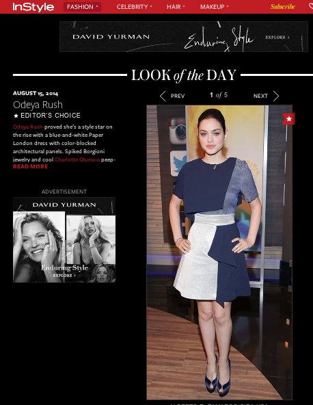"Instyle name Odeya Rush ""Look of the Day"" in PAPER London's Resort 15 Shoot Dress"