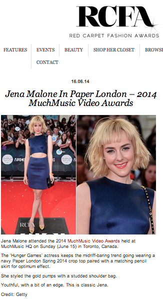 Hunger Games Actress Jena Malone wears SS14 PAPER London to the MuchMusic Video Awards