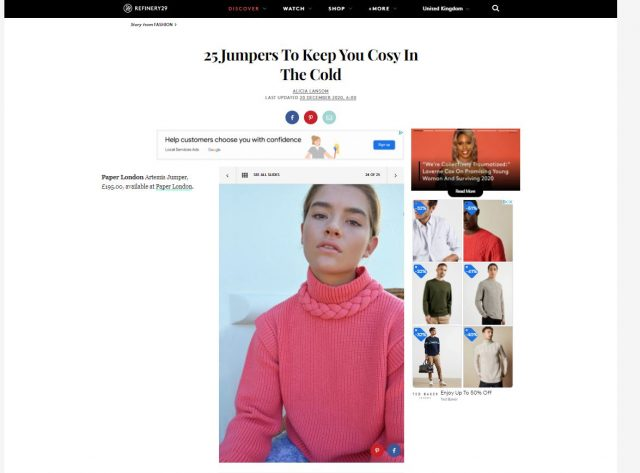 PAPER featured in REFINERY29 – 25 Jumpers To Keep You Cosy In The Cold by ALICIA LANSOM