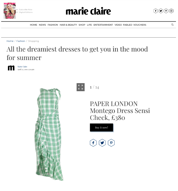 THE MONTEGO DRESS FEATURES ON MARIE CLAIRE ONLINE