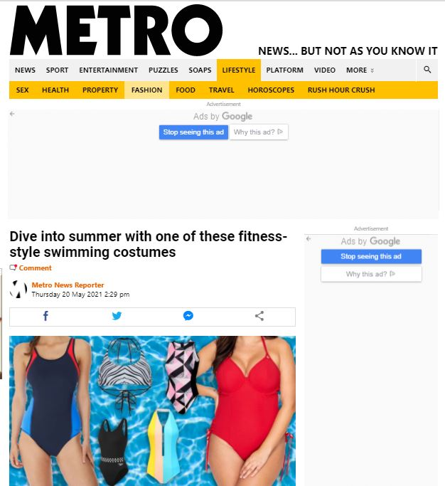 PAPER Featured in METRO : 'Dive into summer with one of these fitness-style swimming costumes'