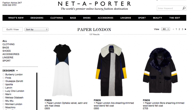 PAPER London launches on Net-A-Porter!