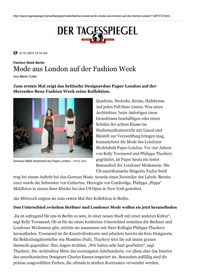 PAPER London is featured in Tagesspiegel