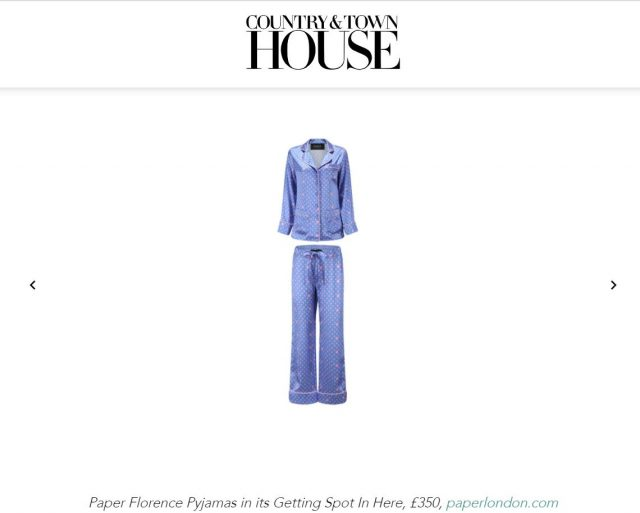 PAPER feature in Country & Town House : BEST SUSTAINABLE LOUNGEWEAR TO BUY NOW by Ellie Smith