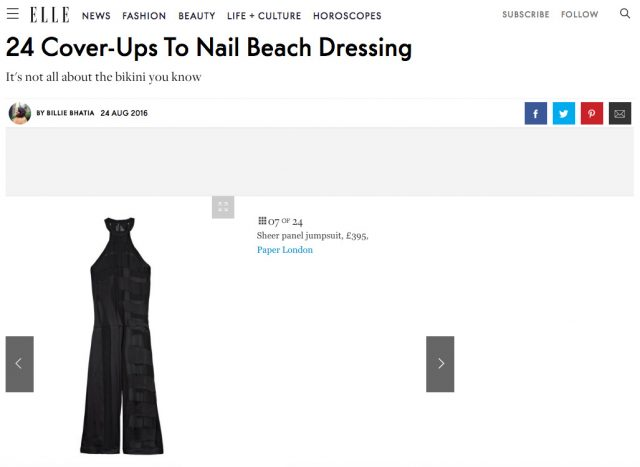 "ELLE.com ""24 Cover-Ups To Nail Beach Dressing"" Features PAPER London's Azur Maxi Jumpsuit"
