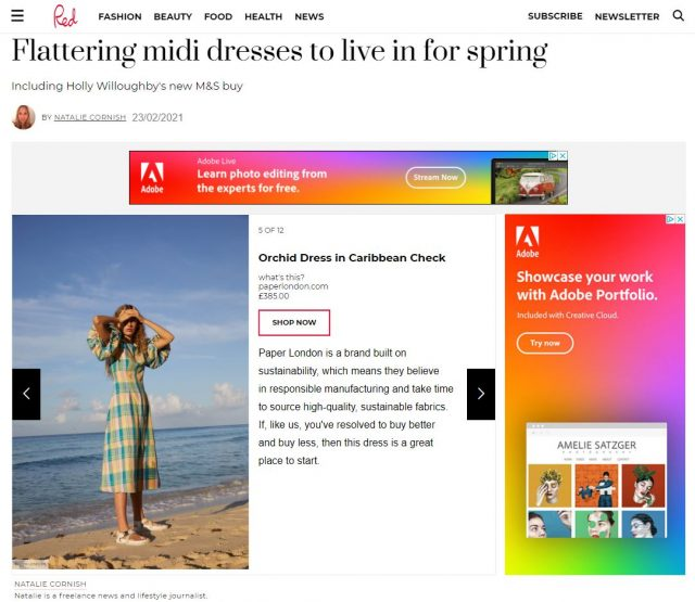 PAPER Featured in Red : 'Flattering midi dresses to live in for spring' by Natalie Cornish