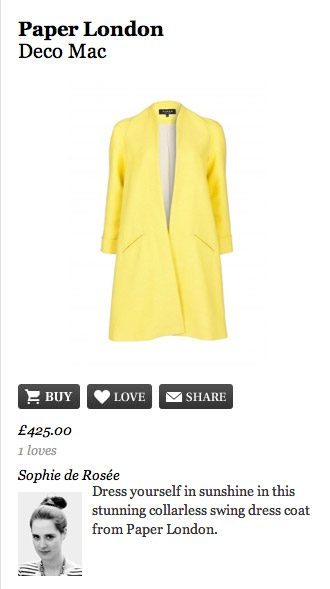SS12 Deco Coat – Telegraph Fashion page i-spied