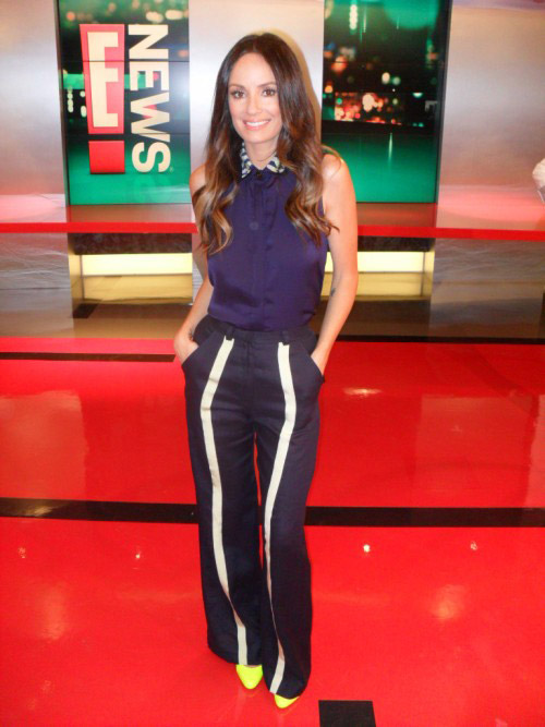 SS12 Canyon Trousers and Havana Shirt in Navy – Catt Sadler of E! News