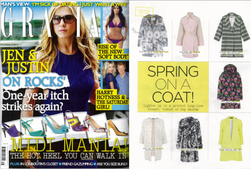 Grazia features the SS12 Deco Coat in Citrine