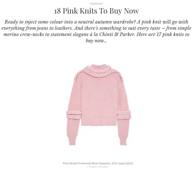 THE PORT JUMPER FEATURES IN SHEERLUXE'S PINK KNIT EDIT